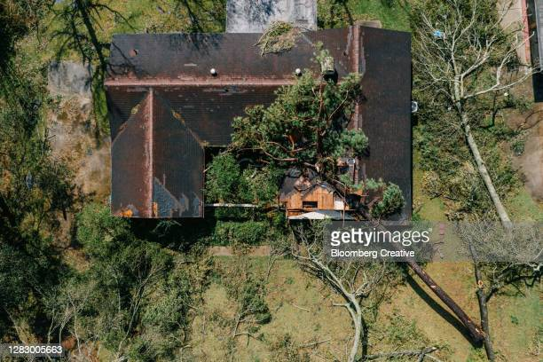house damaged by a fallen tree - damaged stock pictures, royalty-free photos & images