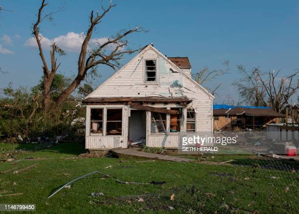 TOPSHOT A house damaged by a tornado is seen in Dayton Ohio on May 28 after powerful tornadoes ripped through the US state overnight causing at least...