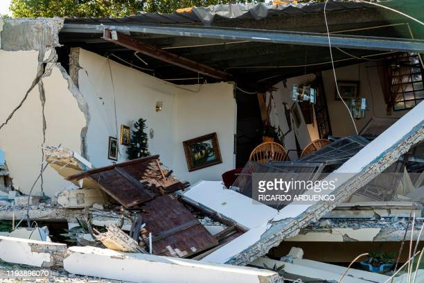 A house damaged by an earthquake is seen in Guanica Puerto Rico on January 15 after a powerful earthquake hit the island The island is still...