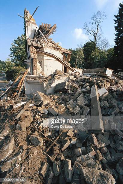House damaged by earthquake, low angle view