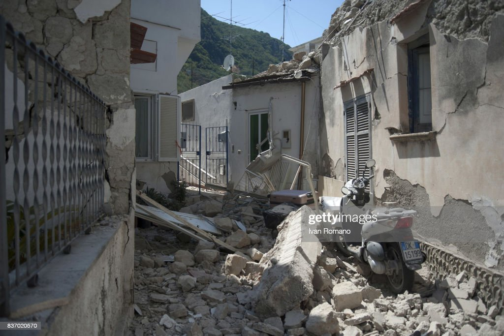 A house, damaged in the earthquake, is seen in one of the more heavily damaged areas on August 22, 2017 in Casamicciola Terme, Italy. A magnitude-4.0 earthquake struck the Italian holiday island of Ischia early this morning during peak tourist season, killing two women. The earthquake occured just two days ahead of the first anniversary of an earthquake in central Italy in which 299 people died.
