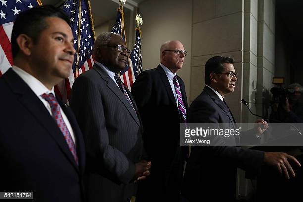 House Democratic Caucus Chair Rep Xavier Becerra speaks to members of the media as House Democratic Caucus Vice Chair Rep Joseph Crowley Assistant...