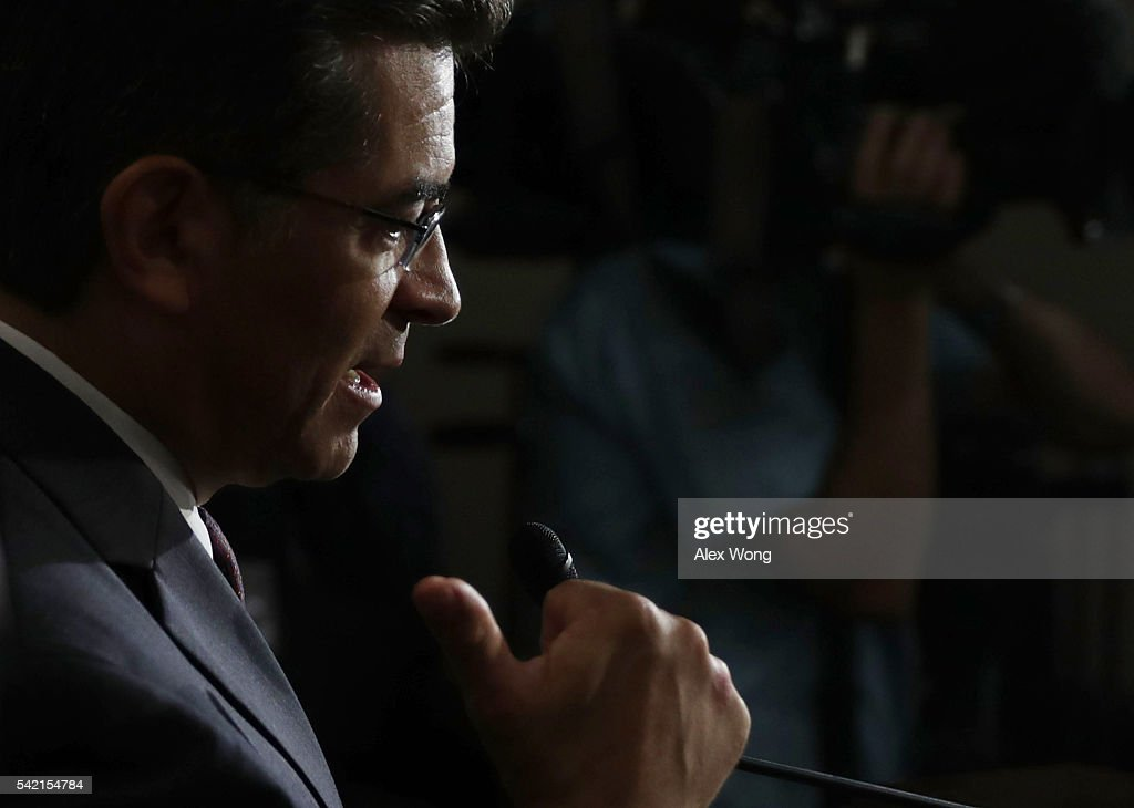House Democratic Caucus Chair Rep. Xavier Becerra (D-CA) speaks to members of the media after a House Democratic Caucus meeting June 22, 2016 on Capitol Hill in Washington, DC. Democratic presidential candidate Hillary Clinton joined the House Democratic Caucus meeting as she continued to campaign for the election.