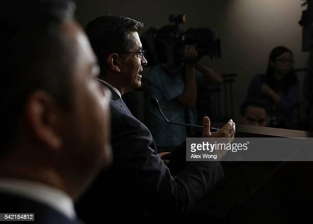 House Democratic Caucus Chair Rep Xavier Becerra speaks to members of the media after a House Democratic Caucus meeting June 22 2016 on Capitol Hill...