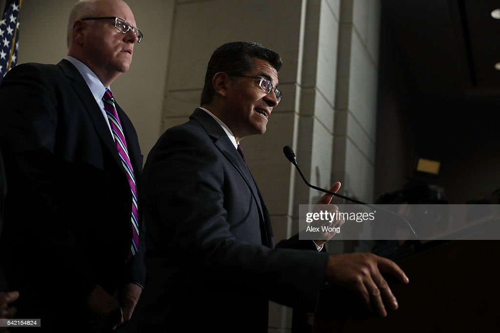 House Democratic Caucus Chair Rep. Xavier Becerra (D-CA) (R) speaks to members of the media as House Democratic Caucus Vice Chair Rep. Joseph Crowley (D-NY) (L) listens after a House Democratic Caucus meeting June 22, 2016 on Capitol Hill in Washington, DC. Democratic presidential candidate Hillary Clinton joined the House Democratic Caucus meeting as she continued to campaign for the election.