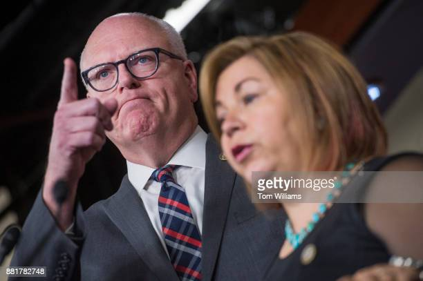 House Democratic Caucus Chairman Joe Crowley DNY and Vice Chair Linda Sanchez DCalif conduct a news conference in the Capitol Visitor Center after a...