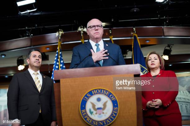 House Democratic Caucus Chairman Joe Crowley DNY at podium Rep Linda Sanchez DCalif Vice Chair and Ben Ray Lujan DNM conduct a news conference before...