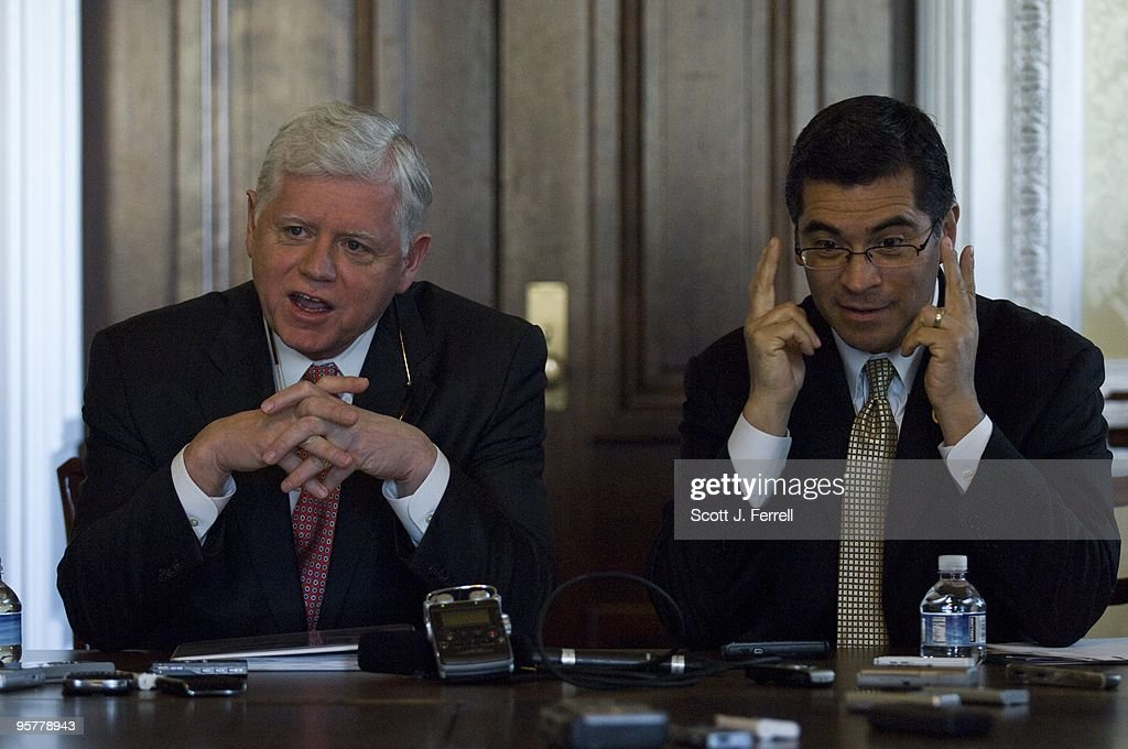 House Democratic Caucus Chairman John B. Larson, D-Conn., and Caucus Vice Chairman Xavier Becerra, D-Calif., during a pen and pad session with reporters on the Democratic agenda for the second session of the 111th Congress.