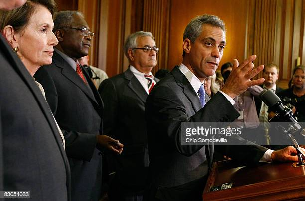 House Democratic Caucus Chairman Rahm Emanuel answers questions at a news conference with House Speaker Nancy Pelsoi Majority Whip James Clyburn and...