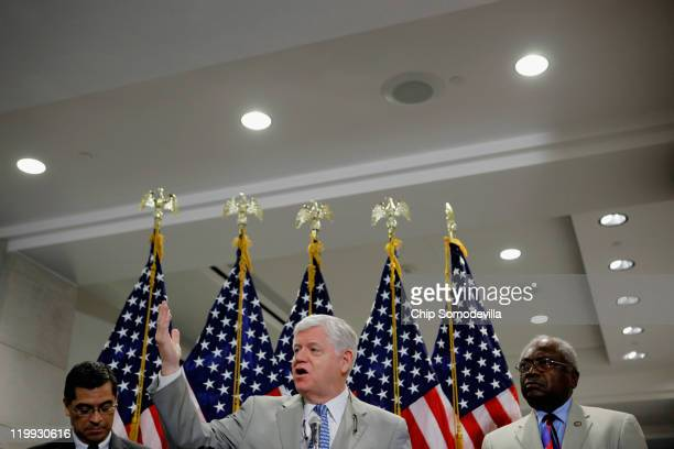 House Democratic Caucus Vice Chairman Rep Xavier Becerra House Democratic Caucus Chairman Rep John Larson and House Assistant Whip James Clyburn talk...
