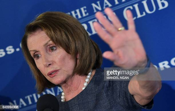 House Democratic Leader Nancy Pelosi speaks during a press conference at the National Press Club on February 27 2017 in WashingtonDC a day ahead of...