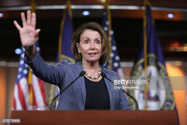 House Democratic Leader Nancy Pelosi speaks during her weekly press conference at the US Capitol Visitors Center May 14 2015 in Washington DC Pelosi...