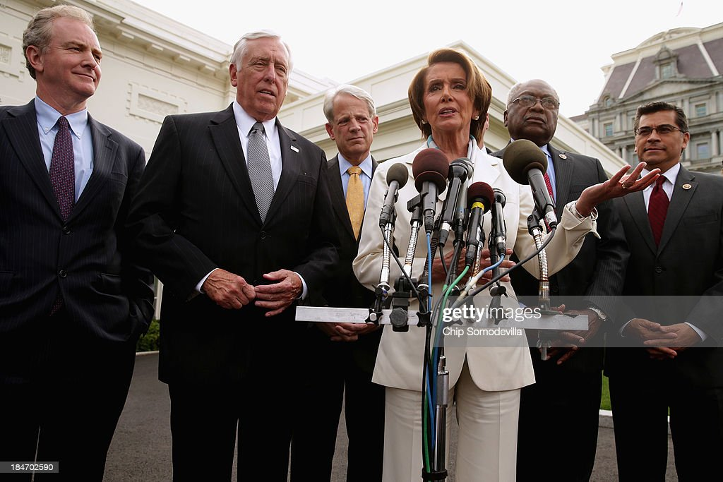 House Democratic leaders (L-R) House Budget Committee ranking member Rep. Chris Van Hollen (D-MD), Minority Whip Steny Hoyer, Rep. Steve Israel (D-NY), Minority Leader Nancy Pelosi (D-CA), Rep. James Clyburn (D-SC) and Rep. Xavier Becerra (D-CA) talk to reporters after meeting with U.S. President Barack Obama and Vice President Joe Biden in the Oval Office at the White House October 15, 2013 in Washington, DC. Negotiations between Congressional Republicans and Democrats and the White House continue as the federal debt limit looms and the partial shutdown of the federal government moves into its third week.