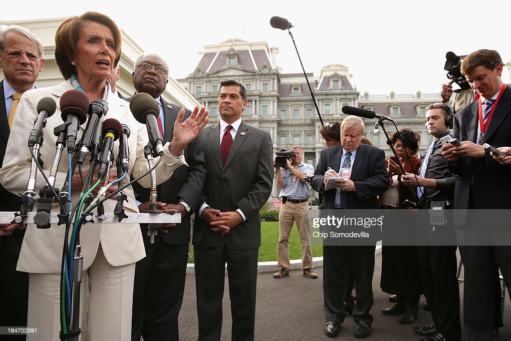 House Democratic leaders (L-R) Rep. Steve Israel (D-NY), Minority Leader Nancy Pelosi (D-CA), Rep. James Clyburn (D-SC) and Rep. Xavier Becerra (D-CA) talk to reporters after meeting with U.S. President Barack Obama and Vice President Joe Biden in the Oval Office at the White House October 15, 2013 in Washington, DC. Negotiations between Congressional Republicans and Democrats and the White House continue as the federal debt limit looms and the partial shutdown of the federal government moves into its third week.