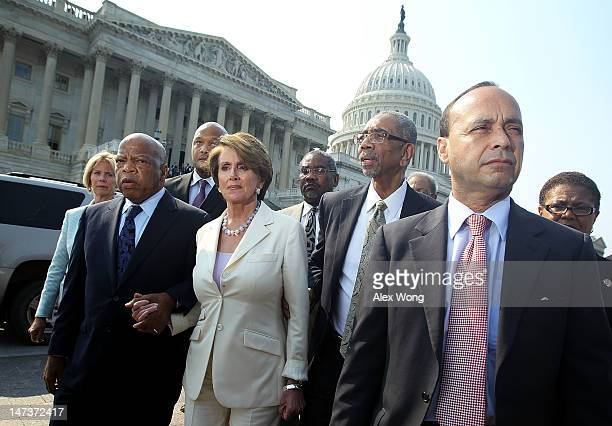 S House Democratic members including Rep John Lewis House Minority Leader Rep Nancy Pelosi Rep George Meeks Rep Bobby Rush and Rep Luis Gutierrez...