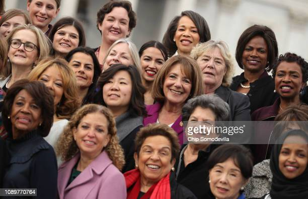 House Democratic women pose for a portrait in front of the US Capitol January 04 2019 in Washington DC The 116th Congress has the biggest number of...