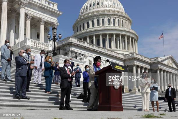 House Democrats participate in an event on police reform June 25, 2020 at the east front of the U.S. Capitol in Washington, DC. The House is...