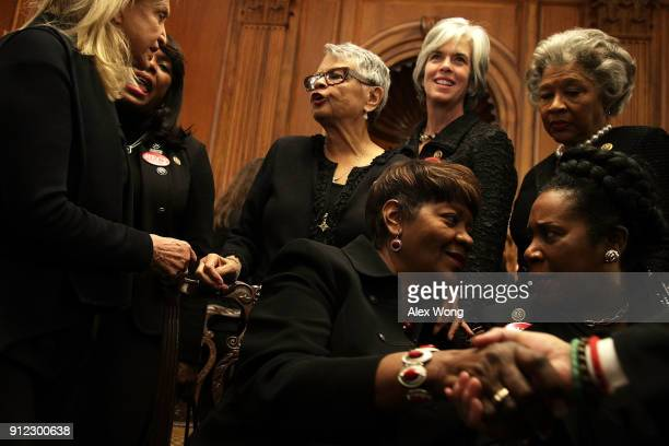 S House Democrats wear black as they participate in a photoop at the US Capitol prior to President Donald Trump's first State of the Union address...