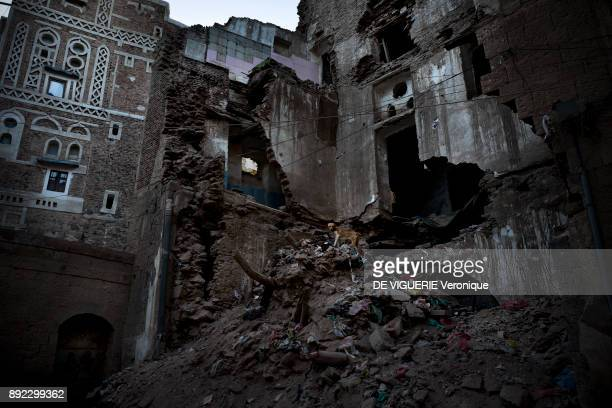 A house destroyed by a Saudi Arabia airstrike in Sanaa's Old City A family died in the attack