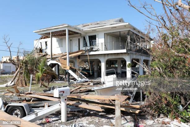 House destroyed by Hurricane Irma in Ramrod Key in Florida Keys