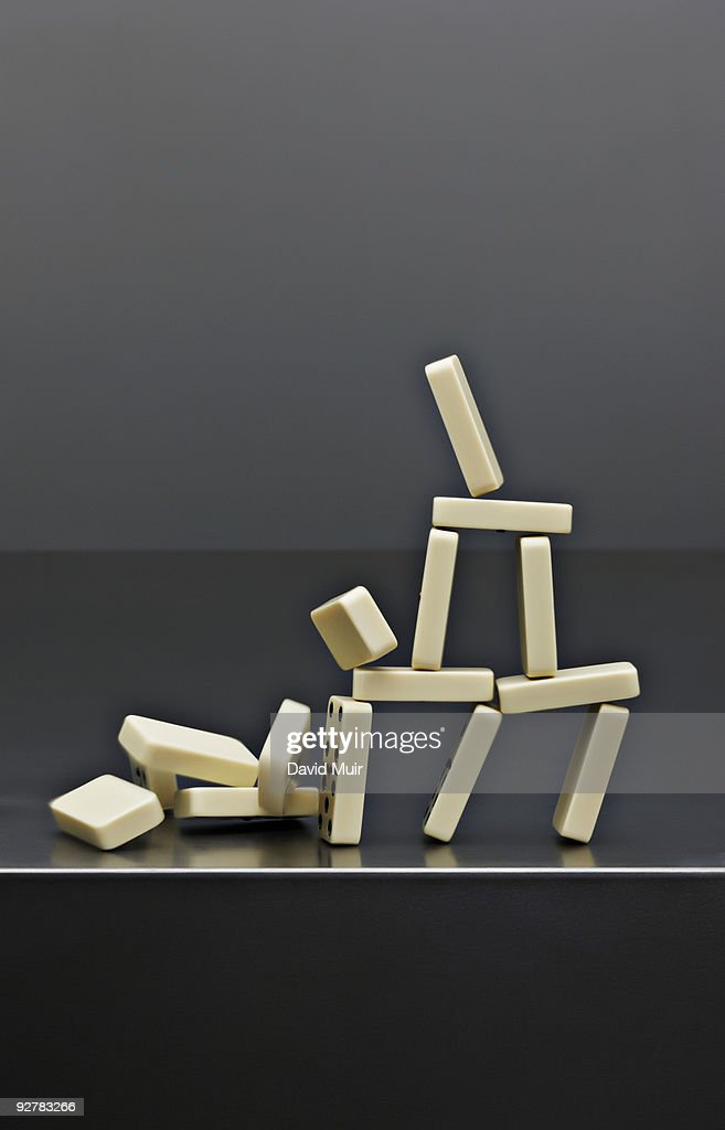 house dominos falling : Stock Photo