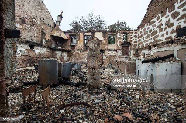 A house during the wildfire is burnt in the village of Tondela on October 19 2017 in Viseu region Portugal Portugal's forest fires broke out on...