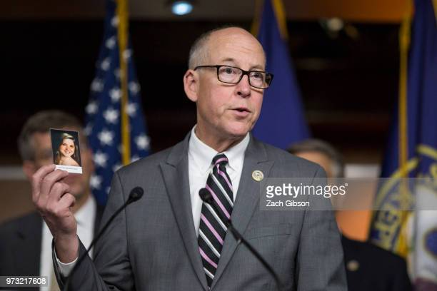 House Energy and Commerce Committee Chairman Rep Greg Walden holds up a photograph of Amanda Beatrice Rose Gray who passed away from an opioid...