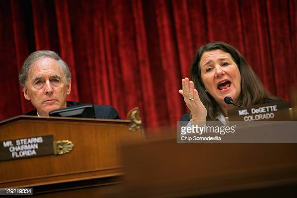 House Energy and Commerce Committee's Oversight and Investigations Subcommittee ranking member Rep Diana DeGette delivers opening remarks as Chairman...