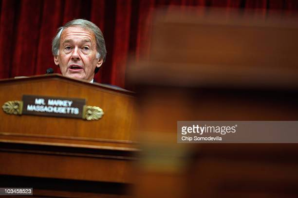 House Energy and Environment Subcommittee Chairman Rep Ed Markey questions witnesses during a hearing about the effectes of the oil spilled in the...