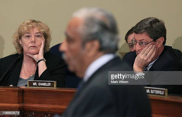 House ethics committee Chairman Zoe Lofgren and US Rep Ben Chandler listen to US Rep Charlie Rangel speak during a House Committee on Standards of...