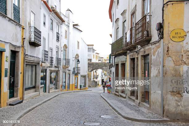 House facade and street in the town, Historic Centre of Evora, UNESCO World Heritage Site, Alentejo, Portugal