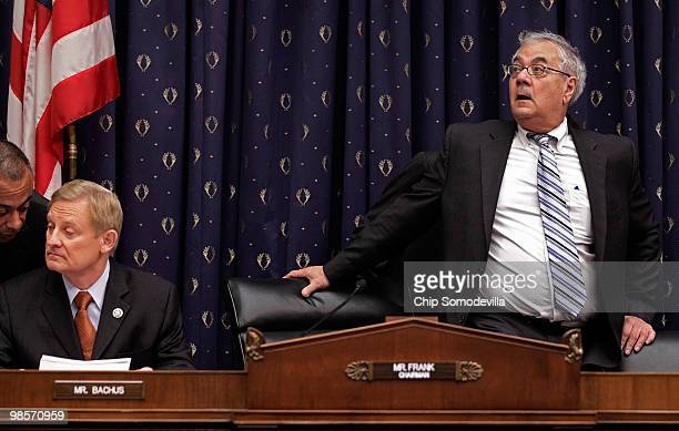 House Financial Services Committee Chairman Barney Frank arrives for a hearing about the Lehman Brothers bankruptcy with committee ranking Republican...