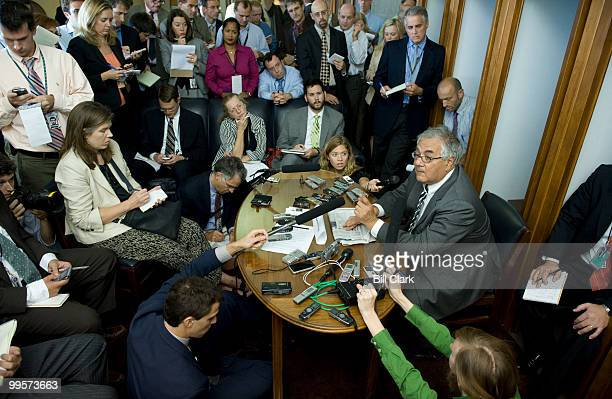 House Financial Services Committee chairman Barney Frank DMass holds a pen and pad briefing with reporters in the Capitol to discuss economic bailout...