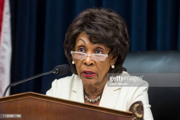 House Financial Services Committee Chairman Maxine Waters speaks during a House Financial Services Committee Hearing on Capitol Hill on April 9 2019...