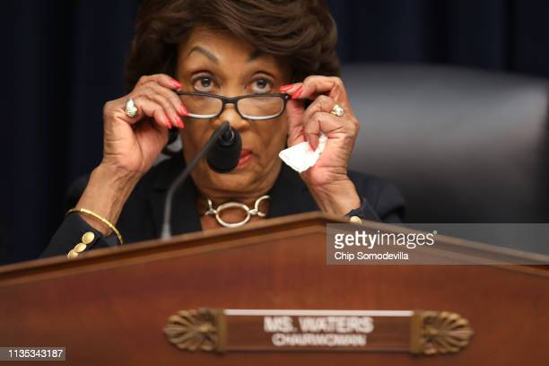 House Financial Services Committee Chairwoman Maxine Water questions Wells Fargo and Company CEO Timothy Sloan as he testifies before the committee...