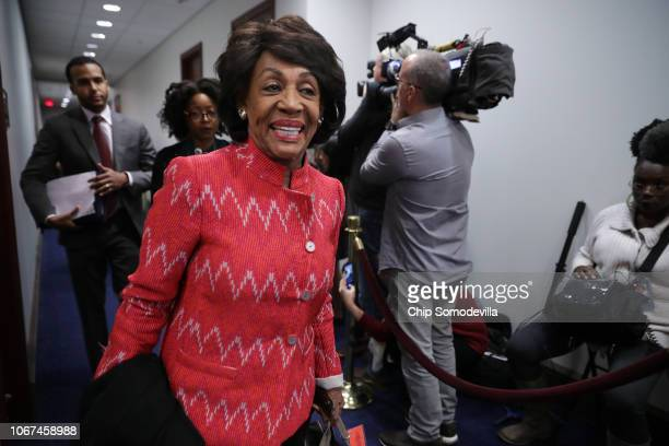House Financial Services Committee ranking member Rep Maxine Waters arrives for a Democratic caucus meeting in the US Capitol Visitors Center...