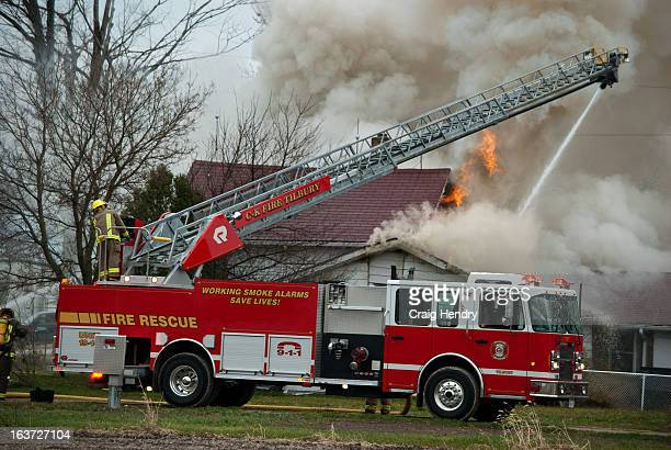 House fire in Coatsworth pushed firefighters out from their interior attack, and put them on the defensive. Click <a...