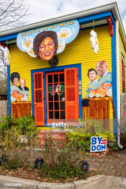House float is decorated with the motif 'Georgia On My Mind' featuring politicians Stacey Abrams, Raphael Warnock, Jon Ossoff, Shirley Chisholm and...