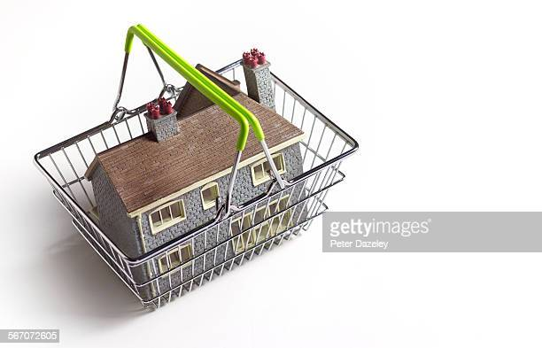 House for sale in a supermarket shopping basket
