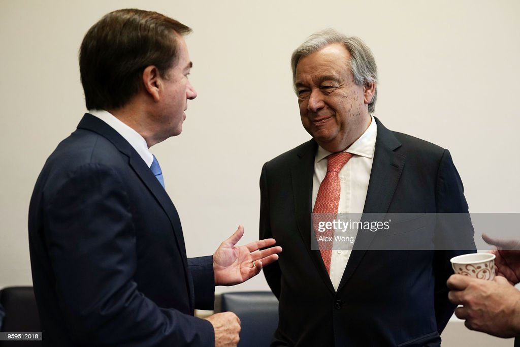 House Foreign Affairs Chairman Ed Royce (R-CA) (L) greets United Nations Secretary General Antonio Guterres during a photo-op May 17, 2018 on Capitol Hill in Washington, DC. Secretary General Guterres will meet with U.S. President Donald Trump at the White House in the afternoon.