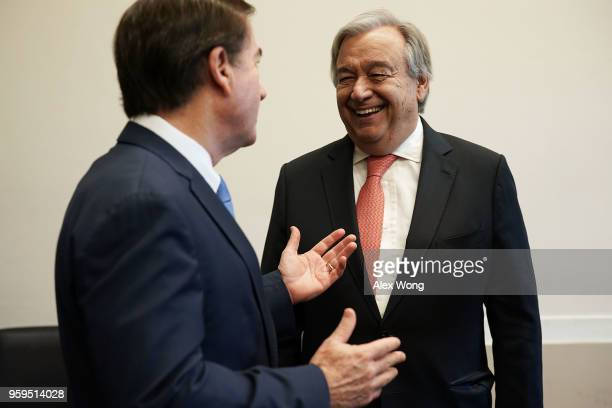 House Foreign Affairs Chairman Ed Royce greets United Nations Secretary General Antonio Guterres during a photoop May 17 2018 on Capitol Hill in...