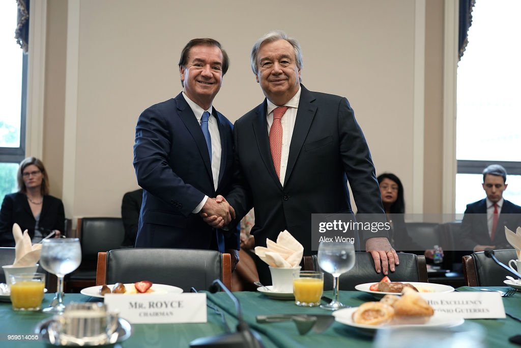 House Foreign Affairs Chairman Ed Royce (R-CA) (L) shakes hands with United Nations Secretary General Antonio Guterres during a photo-op May 17, 2018 on Capitol Hill in Washington, DC. Secretary General Guterres will meet with U.S. President Donald Trump at the White House in the afternoon.