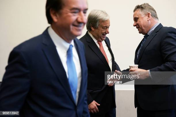 House Foreign Affairs Chairman Ed Royce United Nations Secretary General Antonio Guterres and Rep Chris Smith during a photoop May 17 2018 on Capitol...