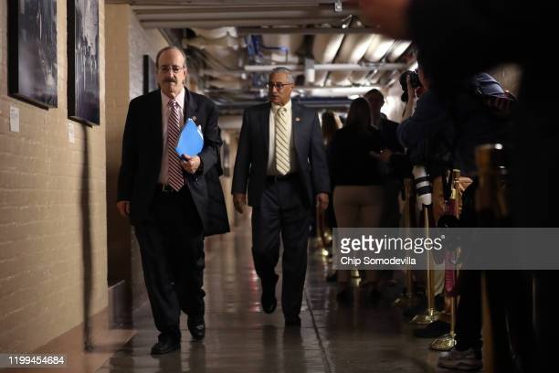 House Foreign Affairs Committee Eliot Engel arrives for the weekly House Democratic Caucus meeting in the basement of the US Capitol January 14 2020...