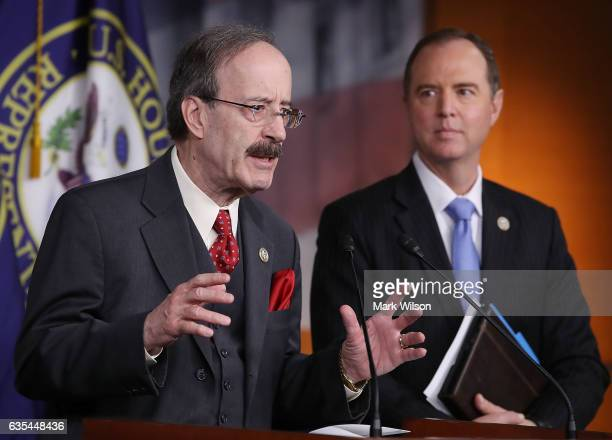 House Foreign Affairs ranking member Eliot Engel and House Intelligence ranking member Adam Schiff speak to the media during a news conference on...