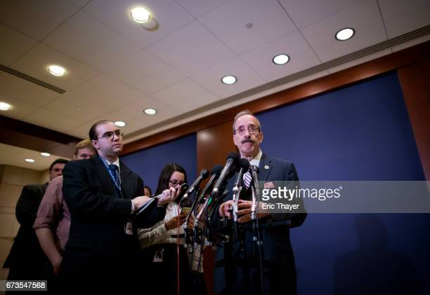 S House Foreign Affairs ranking member Eliot Engel speaks to the media after White House officials briefed members of the House of Representatives on...