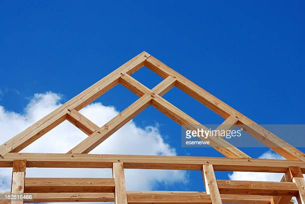 House frame foundation made of timber
