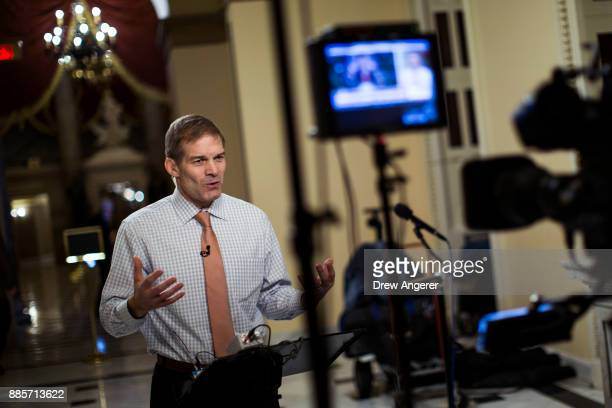 House Freedom Caucus member Rep Jim Jordan speaks during a live television broadcast on Capitol Hill December 4 2017 in Washington DC The House voted...