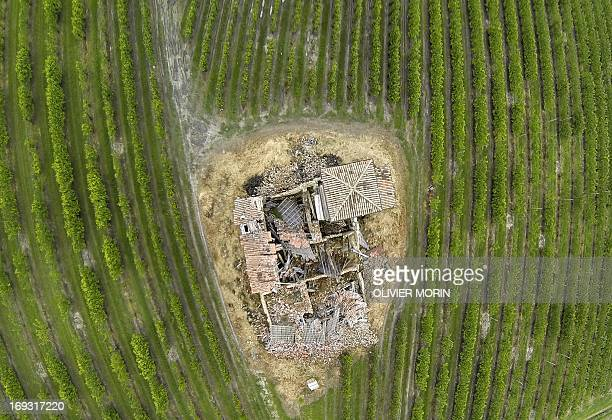 A house from 1562 waits to be restored in a pears tree field outside San Felice sul Panaro on May 22 2013 a year after an earthquake in the Emilia...