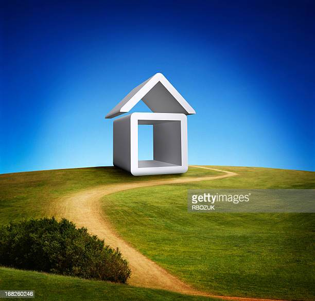 house icon on green hill - house icon stock pictures, royalty-free photos & images